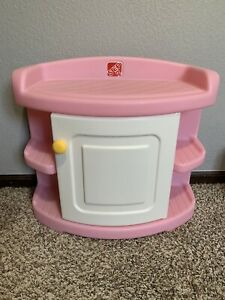 Vintage Step 2 cabinet Nightstand Changing Table  Pink EUC
