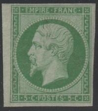 "FRANCE STAMP TIMBRE N° 12 "" NAPOLEON III 5c VERT 1854 "" NEUF x TTB, VALEUR:1300€"
