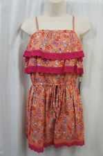 Voyage Mediterranee Collection Romper Sz XS Orange Multi Color Floral Casual