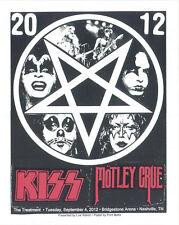 KISS/MOTLEY CRUE 2012 SILKSCREEN CONCERT POSTER S/N ED OF ONLY 80