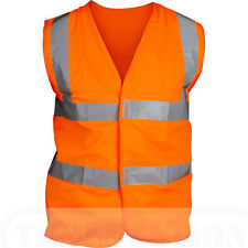 Hi Viz Vis Orange Waistcoats / Vest  2 reflective bands X-Large