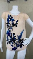 J.Crew Cap Sleeve Pleated Silk Blouse Floral Women's Size 4