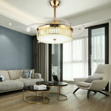 New Listing42' Retractable Crystal Invisible Ceiling Fan Light Led Gold Chandelier Remote