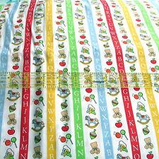 baby cotton fabric Nursery coordinate print stripe letters half yard cut 1/2