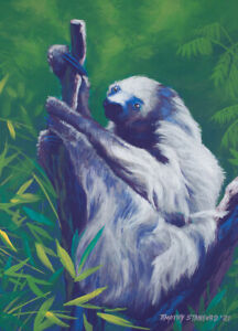 Original Acrylic Painting of a Tree Sloth 9x12 Wildlife Art by Timothy Stanford