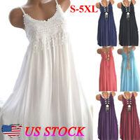 Women Holiday Sleeveless Boho Lace Midi Dress Ladies Summer Casual Sundress Size