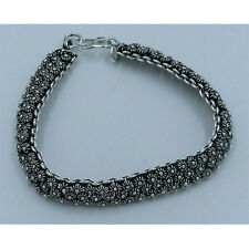 GORGEOUS SOLID .925 Sterling Silver Multi Chain Linked Flower Bracelet