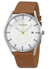 Skagen Denmark Holst White Dial Brown Leather Men's Watch SKW6282 SD