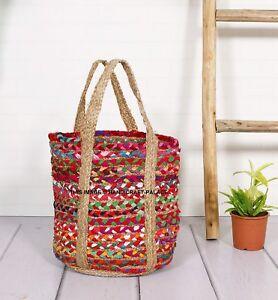 Summer Women Jute Braided Tote Hand Bag Rattan Handbag Woven Casual Beach Bag