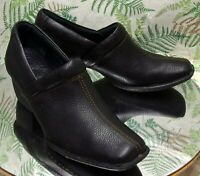BORN BLACK LEATHER LOAFERS SLIP ONS WESTERN FASHION DRESS SHOES US WOMENS SZ 7 M
