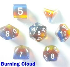 Aurora Gem Poly 7 DICE RPG jeu Burning nuage bleu rouge jaune Pathfinder 5e HD