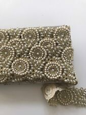ATTRACTIVE ETHNIC INDIAN PEARLS CIRCLES AND FLORAL LACE/TRIM WITH GOLD - 1 MTR