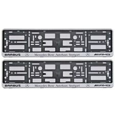 2 x SILVER NUMBER PLATE SURROUNDS HOLDER FRAME FOR AMG BRABUS MERCEDES-BENZ  CAR