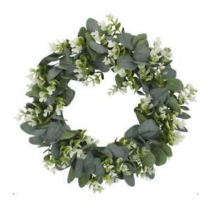 "Artificial Topiary Wreath Eucalyptus Leaf Door Hanging Garland Wedding Decor 13"""