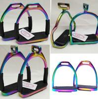"4.75"" RAINBOW MULTI COLOR HORSE RIDING SAFETY STIRRUPS FLEXIBLE BENDY IRON STEEL"