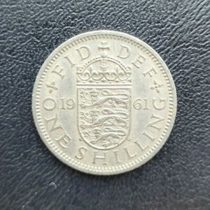 Great Britain One Shilling, English Shield, 1961 copper-nickel coin, KM# 904