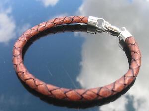Genuine Brown 5mm Leather Cord Bracelet with 925 Sterling Silver Ends Clasp