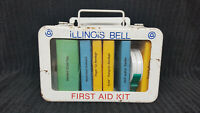 Vintage Metal Illinois Bell First Aid Kit with Plexiglas Front Window