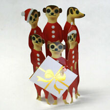3D Special Delivery Holiday Greeting Card - Santa Meerkats - Sd-X-127