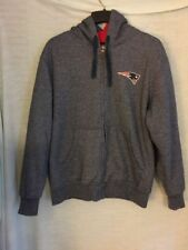 NFL Pro Line Patriots Gray Winter Jacket Hooded Coat Full Zipper Size Large