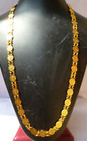 Indian wedding women Ginni Chain 24'' Total Length Necklace Long Gold Plated