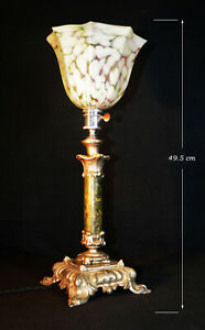 Rare French 1920s patented design lamp Rogue Royalé marble Opaline marbled glass