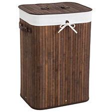 Panier à linge corbeille en bambou bac à linge pliable 72L marron 42x31,5x60cm