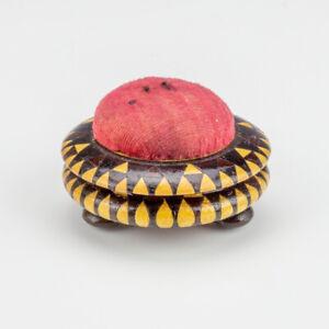 Antique Tunbridge Ware - Inlaid Mosaic Decorated - Sewing Pin Cushion