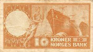 Norway  10  Kroner  1960  Series  S  Circulated Banknote E29