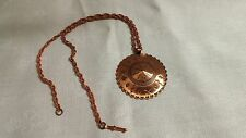 """Vintage Bell Copper Embossed Indian Symbol Disk Pendant 23"""" Rope Chain Necklace"""