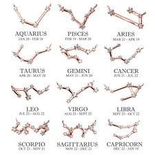 925 Silver Rose Gold Zodiac Constellation Necklace Crystal Horoscope Astrology
