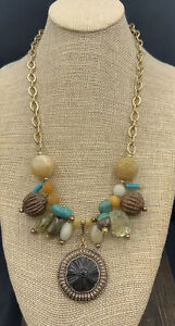 Barse Kali Beaded Necklace- Wood, Stones & Bronze- NWT