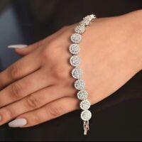 "Women's 14k White Gold Over Round Cut VVS1 Diamonds Link Tennis Bracelet 7.50"""