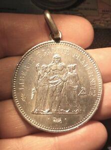 France 50 francs 1977 transformed in medal