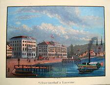 Luzern Lucerne Schweizerhof  Schweiz  altkolorierte echte alte Aquatinta 1840 2