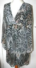 WALLIS SMALL UK8-10 EU36-38 BLACK/GREY/BROWN CHIFFON TUNIC/SHORTER DRESS