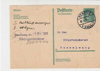 Germany 1928 Kempten Cancel Official Stamps Post Card to Nesselwang Ref 32187
