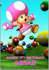 Toad Girl Pink Super Mario Birthday Card A5 Personalised with own words