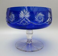 RARE ANTIQUE BOHEMIA CRYSTAL CUT TO CLEAR COBALT BLUE FRUIT BOWL/CENTERPIECE