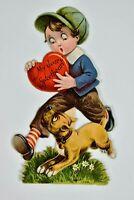 Vintage 1890's Die Cut Sweetheart Card Little Boy Carrying Heart Running Puppy