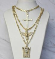 """10K Yellow Gold Plated 3mm Curb Chain Link Pendant Necklace 20"""" with 3 Pendants"""