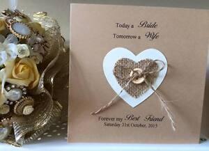 Handmade Wedding Day / Date Card Daughter, Sister, Best Friend. Hessian Heart