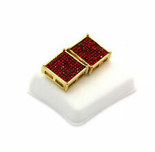 Mens 14K Gold Plated Iced Out Red Cz TC Square Earrings 10 Row Micro Pave HipHop