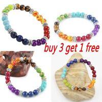 7 Lava Rock Stone Chakra Bead Reiki Healing Hand Charm Bracelet, Elastic Stretch