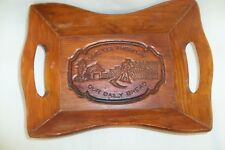 """Vintage Wooden Bread Tray """"Give Us This Day Our Daily Bread"""" Wood Basket Rustic"""
