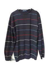 Austin Reed Para Hombre Suéter Azul Marino a Rayas de Algodón Talla Grande