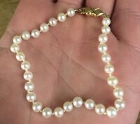 Vintage 14ct 585 Gold Clasp Cultured Pearl Simple Bracelet Individually Knotted