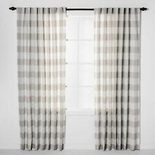 "Threshold Light Filtering Curtain Gray Plaid ONE 1 Panel 54"" x 84"""