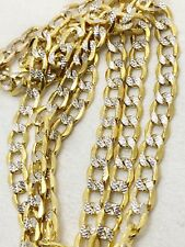 14k two tone gold diamond cut Cuban link chain 24 inches 5.4 mm wide 12.1 grams