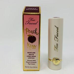 Too Faced Peach Kiss Moisture Matte Long Wear Lipstick Love Is A Battlefield NIB